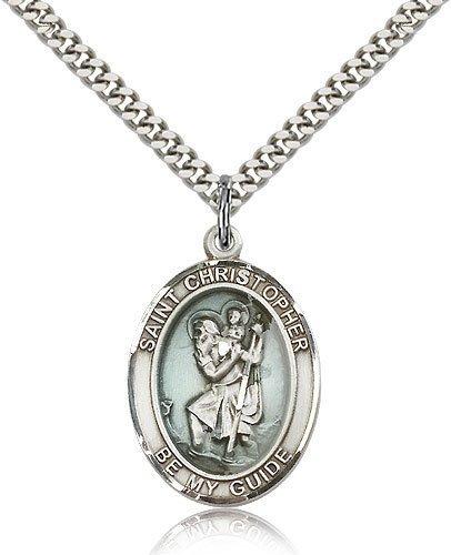 St Christopher Medal Sterling Silver Large Engravable 81965