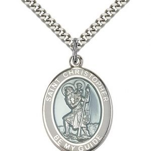 St Christopher Medal Sterling Silver Large Engravable 81971