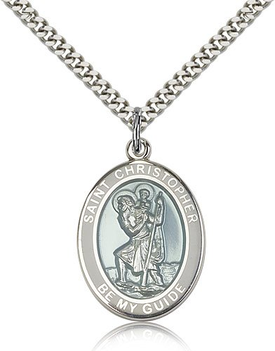 St Christopher Medal Sterling Silver Large Engravable 81971
