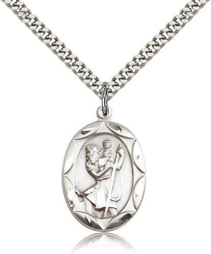 St Christopher Medal - Sterling Silver - Large, Engravable (#83062)