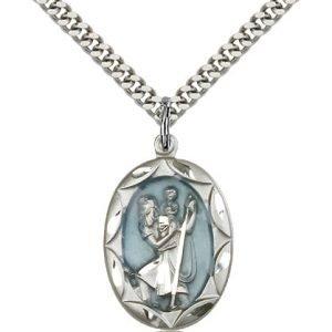 St Christopher Medal Sterling Silver Large Engravable 83066