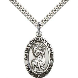 St Christopher Medal Sterling Silver Large Engravable 83144