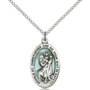 St Christopher Medal Sterling Silver Medium Engravable 19236