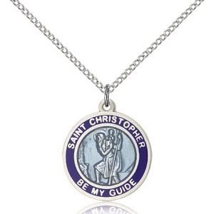 St Christopher Medal - Sterling Silver - Medium, Engravable (#81584)