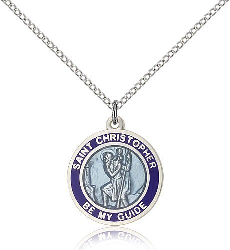 St Christopher Medal - Sterling Silver - Medium, Engravable (#81584)