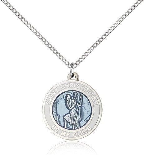 St Christopher Medal Sterling Silver Medium Engravable 81588