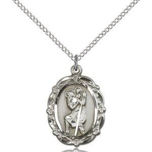 St Christopher Medal Sterling Silver Medium Engravable 81794