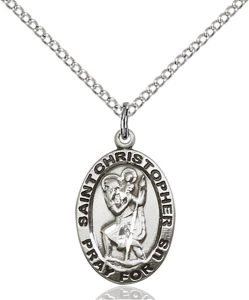 St Christopher Medal Sterling Silver Medium Engravable 83111