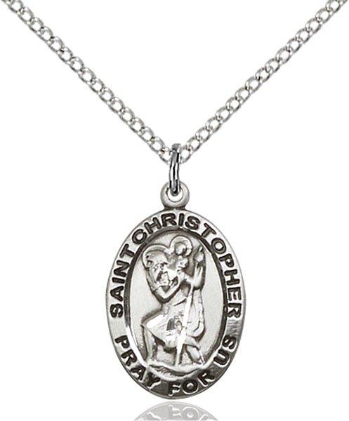 St Christopher Medal Sterling Silver Medium Engravable 83111
