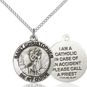 St Christopher Medal - Sterling Silver - Medium, Engravable (#83177)