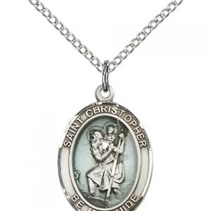 St Christopher Medal Sterling Silver Medium Engravable 83333