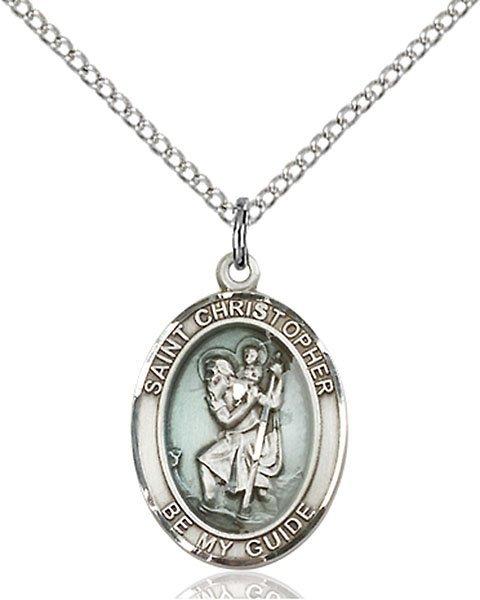 St Christopher Medal Sterling Silver Medium Engravable 83333