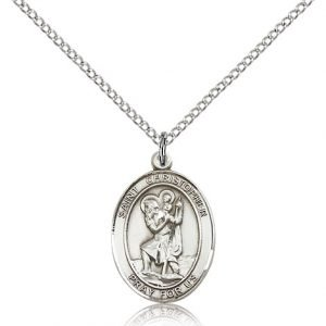 St Christopher Medal - Sterling Silver - Medium, Engravable (#83337)