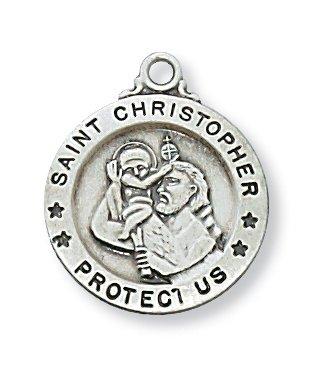 St Christopher Medal Sterling Silver Patron Saint Medal 10680