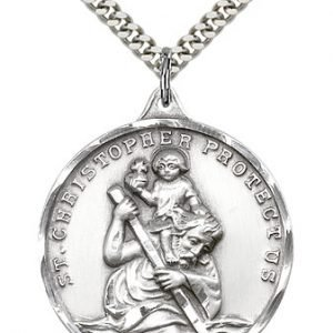 St Christopher Medal Sterling Silver Xlarge Engravable 85634