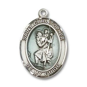 St Christopher Medal Sterling Silverblue With 20 In Chain 81086