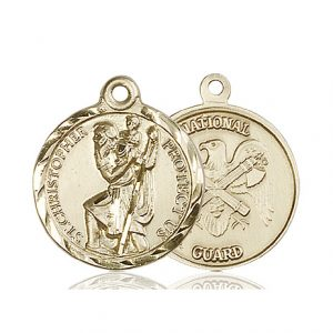 St Christopher National Guard Pendant 14 Kt Gold 89682