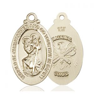 St Christopher National Guard Pendant 14 Kt Gold 90056