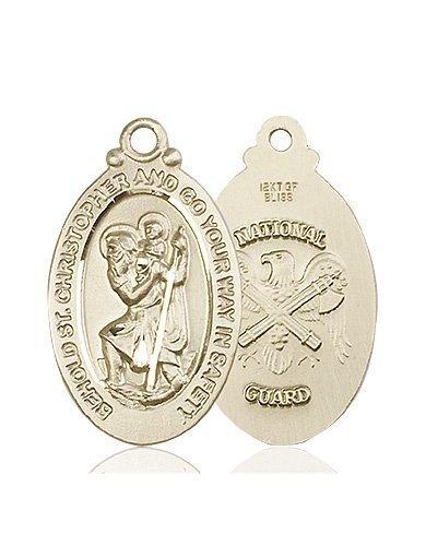 St Christopher National Guard Pendant 14 Kt Gold 90056