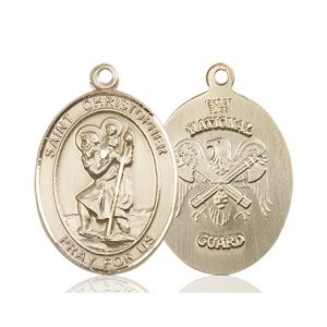 St Christopher National Guard Pendant 14 Kt Gold 90159