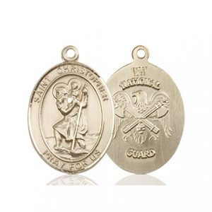 St Christopher National Guard Pendant 14 Kt Gold 90267