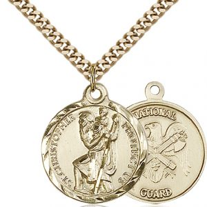 St Christopher National Guard Pendant Gold Filled 89675