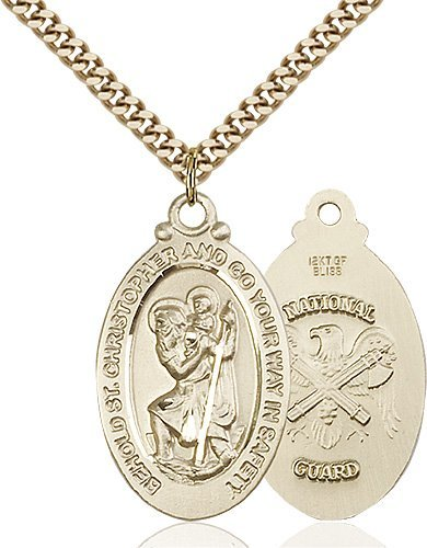 St Christopher National Guard Pendant Gold Filled 90050