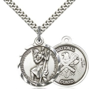 St Christopher National Guard Pendant Sterling Silver 89689