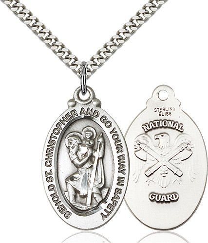 St Christopher National Guard Pendant Sterling Silver 90080