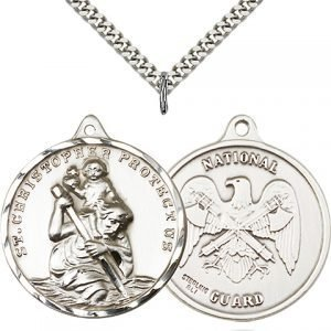 St Christopher National Guard Pendant Xl Sterling Silver 89744