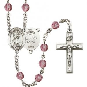 St Christopher-National Guard Rosary - Amethyst Beads (#R15594)