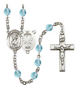 St Christopher-National Guard Rosary - Aqua Beads (#R15595)