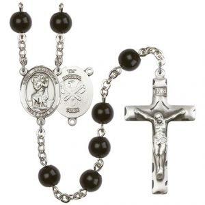 St Christopher-National Guard Rosary - Black Onyx Beads (#R15623)