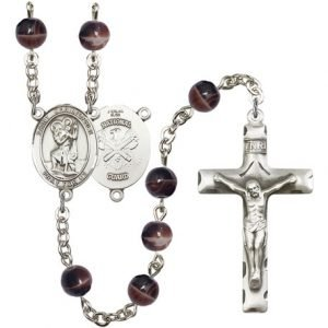 St Christopher National Guard Rosary Brown Beads R15620