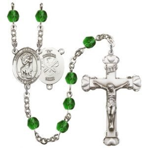 St Christopher National Guard Rosary Emerald Beads R15609