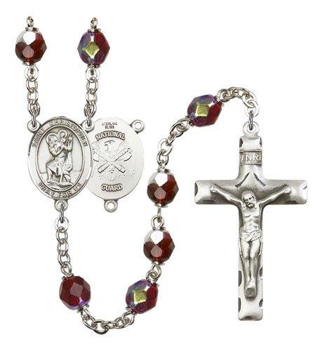 St Christopher National Guard Rosary Garnet Aurora Borealis Beads R15624