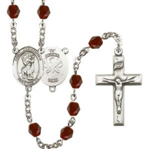 St Christopher National Guard Rosary Garnet Beads R15598