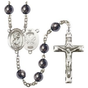 St Christopher National Guard Rosary Hematite Beads R15619