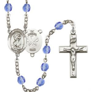 St Christopher National Guard Rosary Saphire Beads R15603