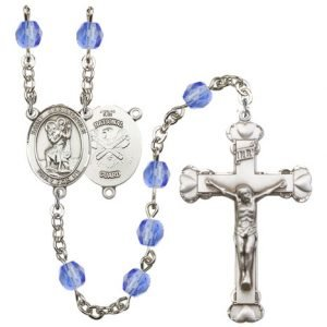 St Christopher National Guard Rosary Saphire Beads R15615