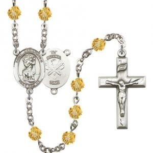 St Christopher National Guard Rosary Topaz Beads R15604