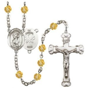 St Christopher National Guard Rosary Topaz Beads R15616