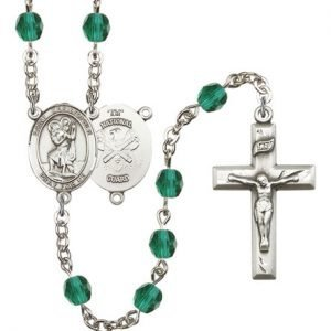 St Christopher National Guard Rosary Zircon Beads R15605