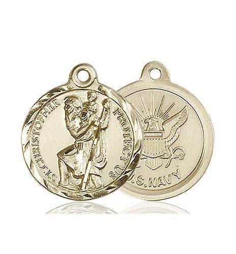 St Christopher Navy Pendant 14 Kt Gold 89683
