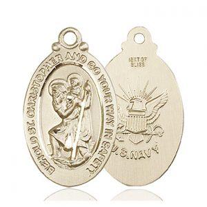 St Christopher Navy Pendant 14 Kt Gold 90057