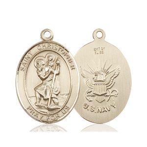 St Christopher Navy Pendant 14 Kt Gold 90160