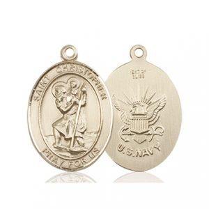 St Christopher Navy Pendant 14 Kt Gold 90268