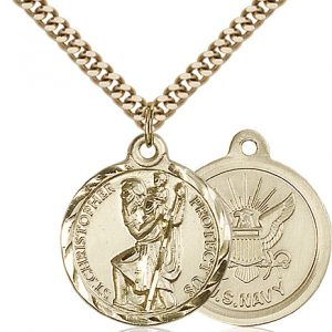 St Christopher Navy Pendant Gold Filled 89676