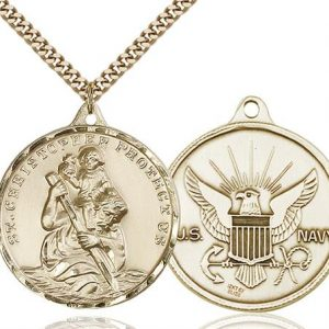 St Christopher Navy Pendant Gold Filled 89733