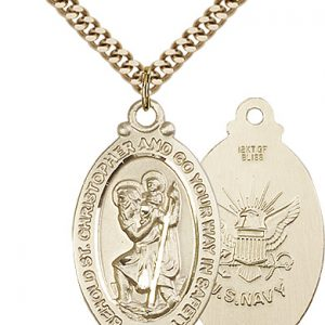 St Christopher Navy Pendant Gold Filled 90051